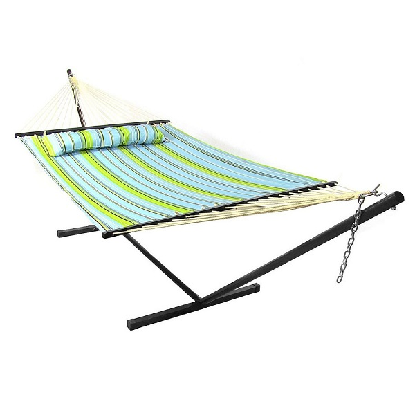 Sunnydaze Blue and Green Quilted Fabric Hammock with Pillow,  Spreader Bar and Stand